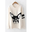 Colorblock Lovely Cartoon Dog Printed Long Sleeve Round Neck Beige Sweater