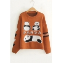 Winter's Cartoon Panda Printed Long Sleeve Round Neck Loose Fitted Sweater