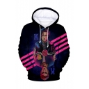 3D Character Pattern Long Sleeve Unisex Purple Hoodie