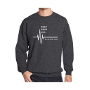 Funny Letter KEEP CALM AND Electrocardiogram Pattern Crew Neck Long Sleeve Sweatshirt