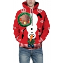 Hot Popular Christmas Pattern Long Sleeve Red Unisex Hoodie