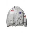 Hip Hop Style Fashion NASA Logo Patched Long Sleeve Zip Up Unisex Jacket