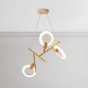Modern Wood Chandelier 3/5/6 Light 27/45/54W LED Neutral Light Frosted Halo Chandelier for Living Room Restaurant Cafe