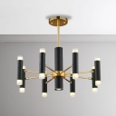 Head Adjustable Nordic Style Multi Tube Suspension 16/20 Light Cylinder LED Chandelier in Black and Gold for Living Room Clothes Stores Hotel Foyer