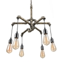 3 Tier Suspender Chandelier in Antique Brass Industrial Wrought Iron 6 Light Pipe Hanging Pendant Light