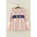 Cartoon Rabbit Pompom Embellished Long Sleeve Fashion Color Block Hoodie