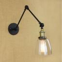 Matte Black Bowl Clear Glass 1 Light LED Mini Wall Sconce