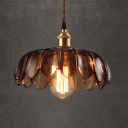 Industrial Style Hanging Pendant Single Light with Brown Glass Floral Shade in Brass for Cafe Warehouse
