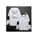 Trendy Letter BONGO CAT Cartoon Printed Color Block Zip Up Black and White Cotton Hoodie