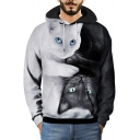 3D Cat Printed Chic Color Block Two-Tone Black and White Hoodie