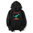 Stylish Loose Long Sleeve Letter Cartoon Dinosaur Pattern Cotton Hoodie