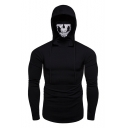 Stylish Skull Printed Stretch Slim Long Sleeve Sports Hoodie for Men
