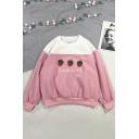 Three Strawberry Letter Pattern Round Neck Long Sleeve Pullover Pink Sweatshirt