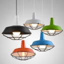 Metal Cage Barn Pendant Light Industrial Restaurant Kitchen Farmhouse Hanging Pendant in Black/Blue/Green/Orange/White