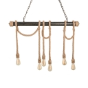 6 Light Industrial Rope Multi Light Pendant in Dark Bronze for Restaurant Kitchen Island