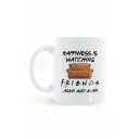 Letter HAPPINESS IS WATCHING FRIENDS Sofa Printed White Ceramic Mug of Large Capacity 8.2*9.6cm