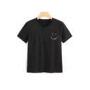 Simple Emoji Smile Face Pattern Short Sleeve Round Neck Slim Tee