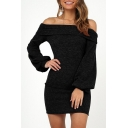 Hot Fashion Off-Should Lantern Sleeve Plain Mini Bodycon Dress