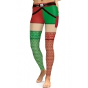 Classic Red and Green Colorblock Skinny Fit Sports Yoga Leggings