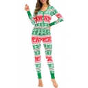 Christmas Snowflake Deer Pattern Long Sleeve V Neck Top Green Sleepwear Co-ords