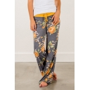 New Fashion Tied Waist Floral Printed Loose Fitted Wide Legs Pants