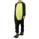 Trendy Color Block Hooded Long Sleeve Fleece Cosplay Dinosaur Unisex Onesie Pajamas
