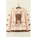 Light Khaki Cute Bear Pattern Long Sleeve Contrast Bow Embellished Hoodie