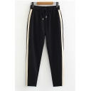 Striped Side Elastic Drawstring Waist Black Sports Tapered Pants