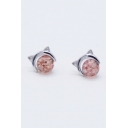Lovely Cat Shaped Crystal Pink Earrings with Rubber Stopper