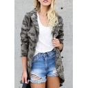 Autumn New Trendy Classic Camouflage Printed Long Sleeve Lapel Collar Zip Up Trench Coat