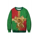 Classic Red and Green Color Block 3D Bow Tie Printed Crewneck Long Sleeve Sweatshirt