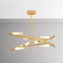 Creative and Elegance 8 Light/12 Light Tube LED Chandelier 24W/36W Metal Swirl Hanging Lights in Gold for Cafe Restaurant Dining Room