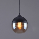 Amber Glass Hanging Pendant 1 Light in Vintage Style for Cafe Restaurant (2 Designs for Choice)