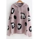 Funny Pattern Long Sleeve Hooded Winter's Cozy Purple Sweater