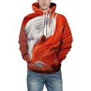 3D Fox Printed Unisex Long Sleeve Leisure Red Hoodie