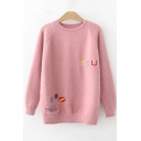 Lovely Cartoon Balloon Car Letter Embroidered Round Neck Long Sleeve Sweater