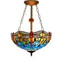 16/18 Inch Wide Dragonfly Theme Tiffany Colorful Stained Glass Pendant Light with Inverted Bowl Shade