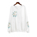 Fashion Floral Embroidered Long Sleeve Round Neck Loose Fitted Sweatshirt