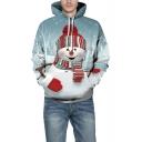 Digital Christmas Snowman Pattern Long Sleeve Blue Loose Fit Hoodie