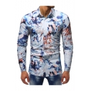 Men's Fashion Printed Lapel Collar Long Sleeve Button Front Blue Shirt