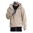 Long Sleeve Zip Up Solid Fleece Stylish Loose Fitted Hoodie