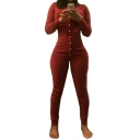 Women's Slim Fitted Long Sleeve Sexy Plunge Neck Button Front Jumpsuits