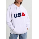 USA Letter Printed Long Sleeve Regular Fitted White Hoodie