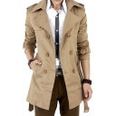 Men's Autumn New Trendy Notched Lapel Collar Long Sleeve Double Breasted Trench Coat