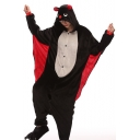 Black Batwing Coral Fleece Long Sleeve Unisex Carnival Costume Onesie Pajamas