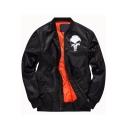 Trendy Skull Logo Printed Long Sleeve Stand Collar Zip Up Bomber Jacket for Juniors