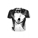 Summer's New Fashion Black Cartoon Sketch Character Pattern Crewneck Short Sleeve T-Shirt