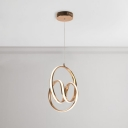 Post Modern Gold Geometric Pendant Light 18W 4500K Decorative Aluminum Ring Hanging Light for Bedroom Cafe Restaurant (12