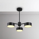 Contemporary Metal Light Fixture 3/5/6/10 Light LED Drum Chandelier 15/25/30/50W High Brightness Black Suspension for Living Room Hotel Restaurant