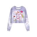 Sky Unicorn Pattern Round Neck Long Sleeve Cropped Purple Sweatshirt